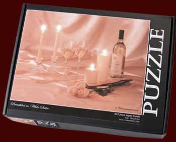 Breathless in White Satin Wine Art Puzzle